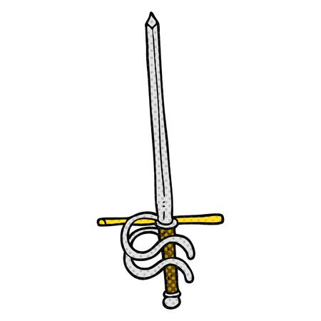 freehand drawn cartoon sword