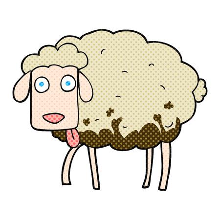 freehand drawn cartoon muddy sheep