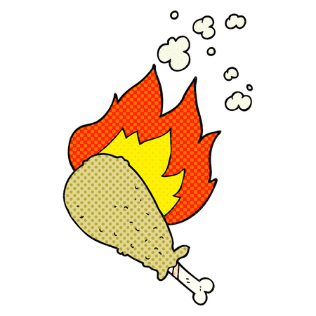 cooked: freehand drawn cartoon cooked chicken leg