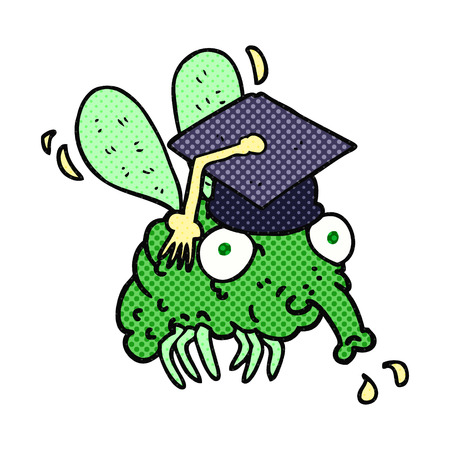 freehand: freehand drawn cartoon fly graduate