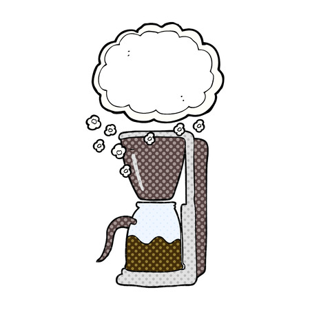 freehand: freehand drawn cartoon coffee maker Illustration