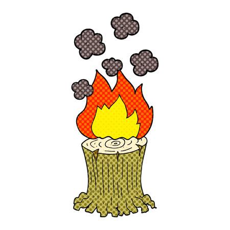 freehand drawn cartoon burning tree stump Stock fotó - 53446687