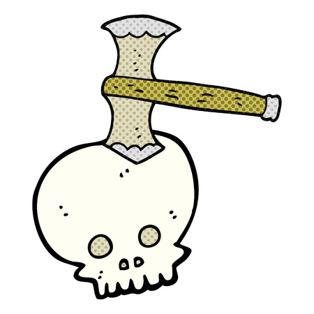 cartoon axe: freehand drawn cartoon axe in skull