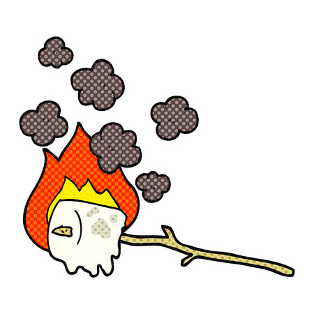 freehand drawn cartoon burning marshmallow Иллюстрация