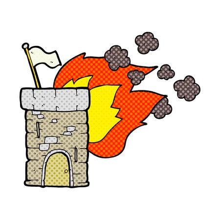 freehand drawn cartoon burning castle tower Stock fotó - 53447081