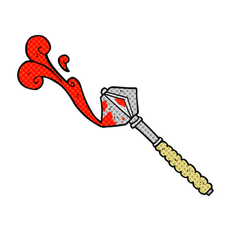 warhammer: freehand drawn comic book style cartoon bloody medieval mace