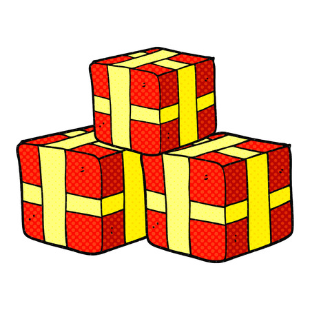 wrapped: freehand drawn comic book style cartoon wrapped gifts Illustration