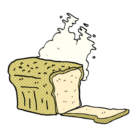 baked: freehand drawn comic book style cartoon fresh baked bread Illustration