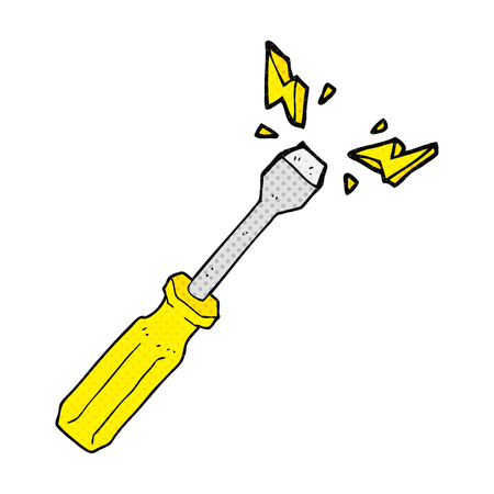 freehand drawn comic book style cartoon screwdriver Ilustração