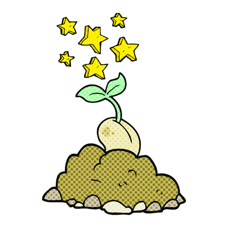 sprouting: freehand drawn comic book style cartoon sprouting seed