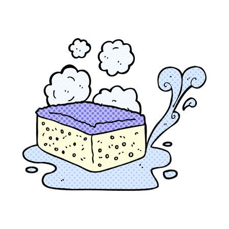 freehand drawn comic book style cartoon sponge Vektoros illusztráció