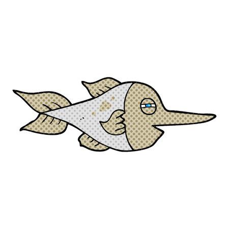 pez espada: a mano alzada dibujo animado hecho el pez espada del estilo del c�mic