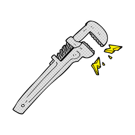 adjustable: freehand drawn comic book style cartoon adjustable wrench Illustration