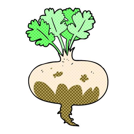 turnip: freehand drawn comic book style cartoon muddy turnip Illustration