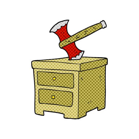 buried: freehand drawn cartoon axe buried in chest of drawers Illustration