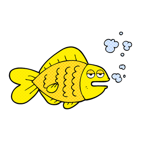 funny fish: freehand drawn comic book style cartoon funny fish Illustration