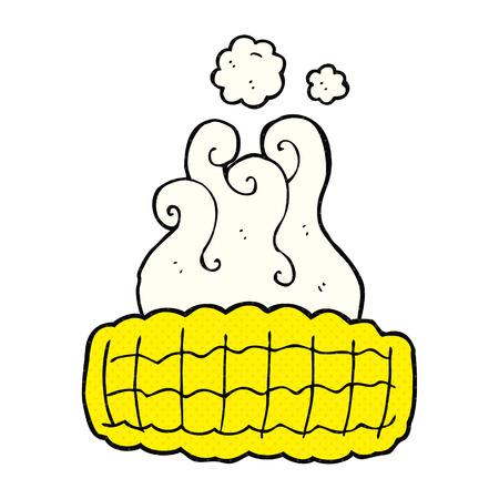 corn on the cob: freehand drawn comic book style cartoon corn cob Illustration
