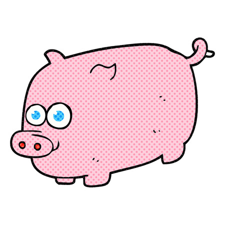 freehand: freehand drawn cartoon pig Illustration