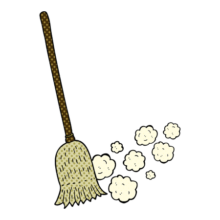 sweeping: freehand drawn comic book style cartoon sweeping brush Illustration