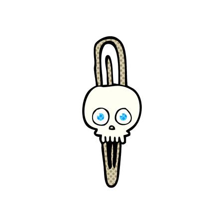 hairclip: freehand drawn cartoon skull hairclip Illustration