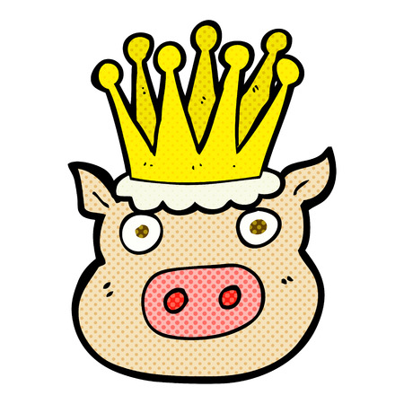 crowned: freehand drawn cartoon crowned pig Illustration