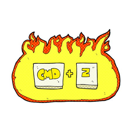 command: freehand drawn comic book style cartoon command Z function