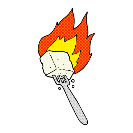 tofu: freehand drawn comic book style cartoon flaming tofu on fork Illustration