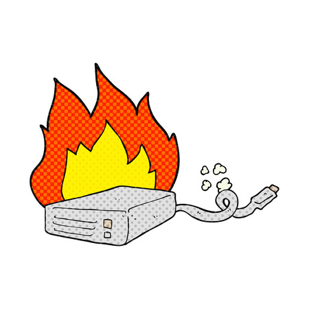 disco duro: Ordenador de la historieta dibujada a mano alzada estilo del c�mic en el disco duro de grabaci�n Vectores