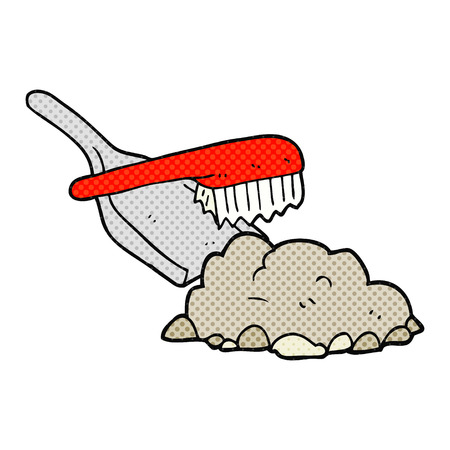 dust pan: freehand drawn comic book style cartoon dust pan and brush sweeping up rubble Illustration
