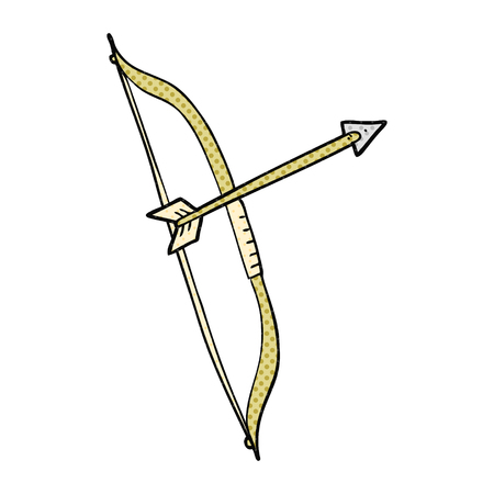 longbow: freehand drawn comic book style cartoon bow and arrow Illustration