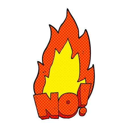 shout: freehand drawn comic book style cartoon NO! shout Illustration