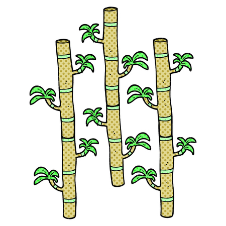 the sprouting: freehand drawn comic book style cartoon bamboo