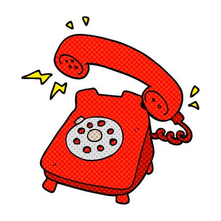 freehand drawn comic book style cartoon ringing telephone Illustration