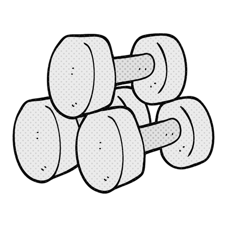 freehand: freehand drawn cartoon dumbbells Illustration