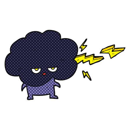 stormcloud: freehand drawn comic book style cartoon raincloud character shooting lightning