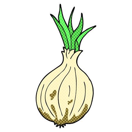 cartoon onion: freehand drawn comic book style cartoon onion Illustration