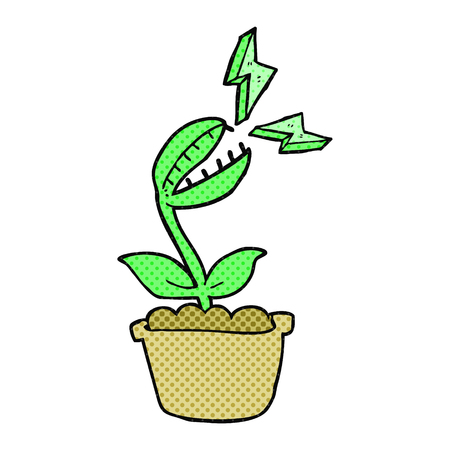 venus: freehand drawn comic book style cartoon venus fly trap Illustration