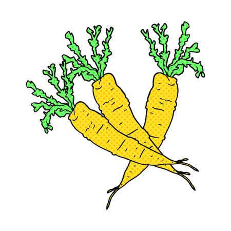 zanahoria caricatura: dibujado a mano alzada zanahoria de dibujos animados de estilo cómic Vectores