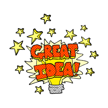 great idea: freehand drawn comic book style cartoon great idea light bulb symbol