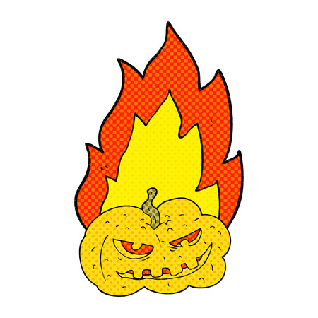 flaming: freehand drawn comic book style cartoon flaming halloween pumpkin Illustration