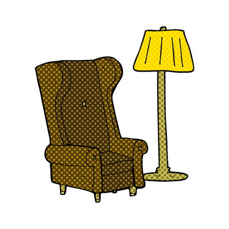 freehand drawn comic book style cartoon lamp and old chair