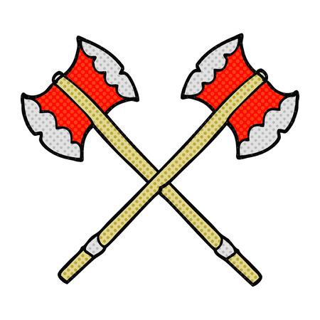 axes: freehand drawn comic book style cartoon axes