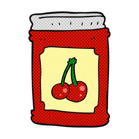 jam jar: freehand drawn cartoon cherry jam jar Illustration