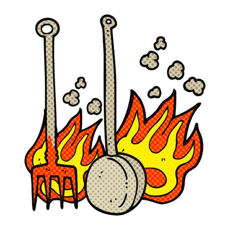 warmer: freehand drawn comic book style cartoon hot fireside tools Illustration