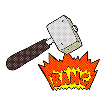 mallet: freehand drawn comic book style cartoon mallet banging