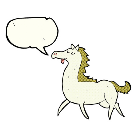 comic bubble: freehand drawn comic book speech bubble cartoon horse Illustration