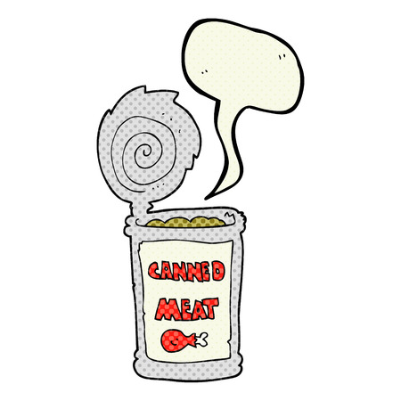 canned meat: freehand drawn comic book speech bubble cartoon canned meat