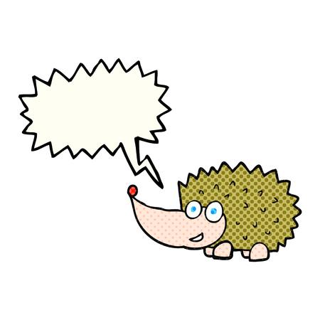 cartoon hedgehog: freehand drawn comic book speech bubble cartoon hedgehog Illustration