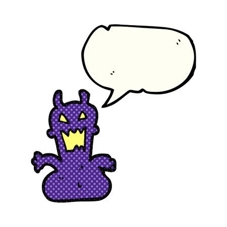 alien clipart: freehand drawn comic book speech bubble cartoon little alien Illustration