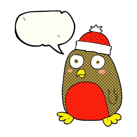 christmas robin: freehand drawn comic book speech bubble cartoon christmas robin